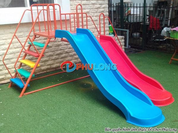 Cầu trượt mầm non composite 2 máng PL0633